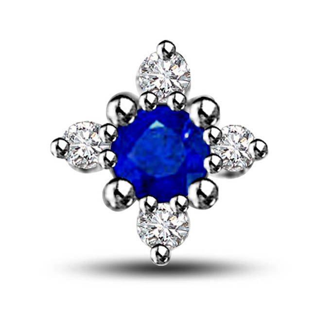 Blue Star Of Love:0.59ct Sapphire & Diamond Pendants In 14kt White Gold