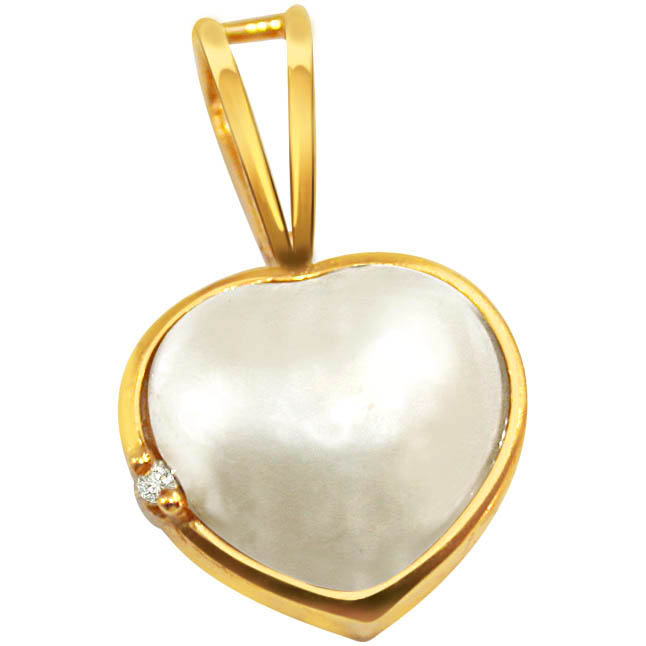 White Chocolate Heart Shape Diamond Pendants