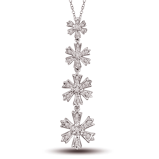 Hanging Stars 0.50ct 4 Diamond Flower Hanging Long Pendants For Your Lady Love -Designer Pendants