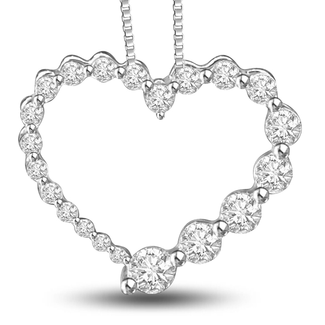 Internal Happiness 0.50ct Diamonds In A Heart 14kt White Gold Beautiful Pendants For Your Love