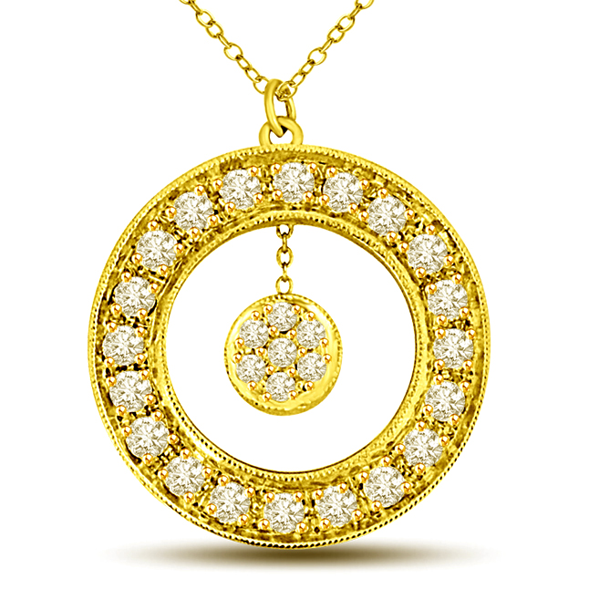 Golden World 0.67ct Diamond Flower In Round Diamond Wheel 18kt Yellow Gold Pendants For Her -Designer Pendants