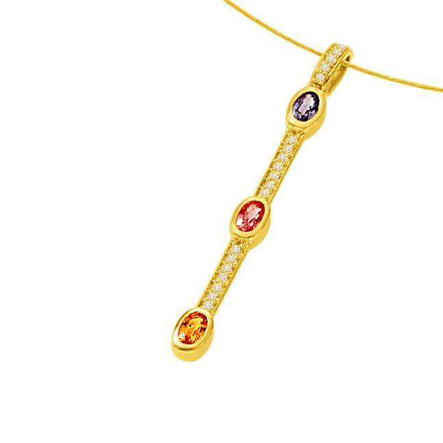 A Golden Stich Forever0.55ct Tcw Diamond Ruby Emerald & Sapphire Stick Shaped Long 18kt Pendants -Designer Pendants