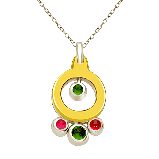 Shades of Stones Emerald & Ruby 18kt Yellow Gold Round Two Tone Diamond Pendants -Designer Pendants