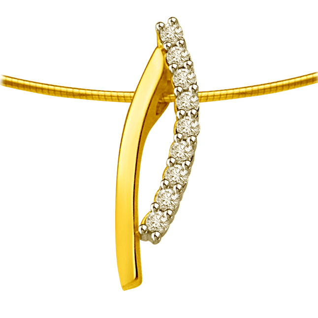Love Together : Row Of Diamond With Gold Curve 18kt Pendants For Her -Designer Pendants