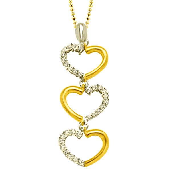 Alternate Hearts : 3 Hearts Two Tone Diamond & 18kt Gold Pendants