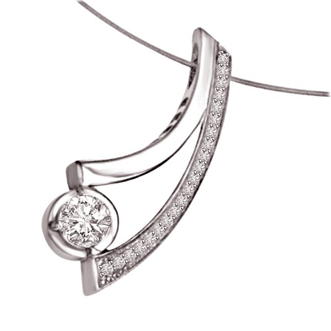 Victorious Diamond : 0.21ct 14kt White Gold Diamond Pendants -Designer Pendants