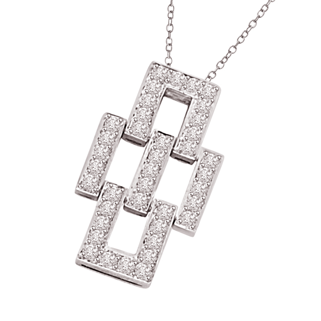 Awesone Bonding 0.30ct Geomatrical Shaped 14kt White Gold Diamond Pendants -Designer Pendants