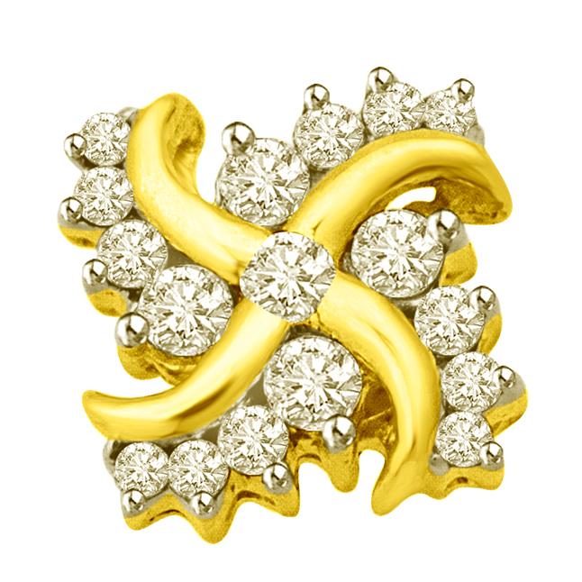 Diamond Swastika : A Pious Symbol For Puja 18kt Diamond Pendants -Religious