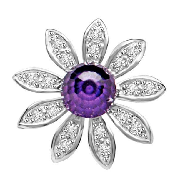 Blue Floral Twinkle Amethyse & Diamond Flower Beautiful Passionate Diamond Pendants -Designer Pendants