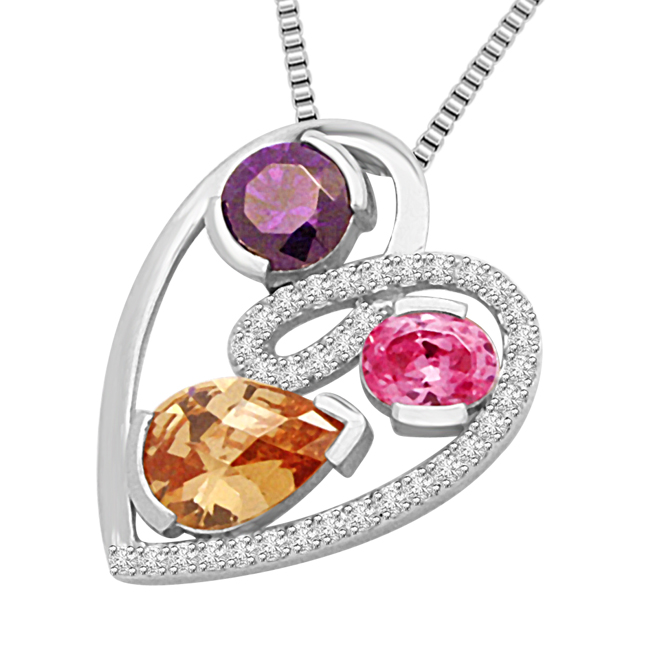 Love Triangle:Diamond Amethyse Tourmaline & Golden Topaz White Gold Pendants