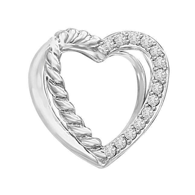 Twin Heart With Serration On One Side 14ktw Hite Gold Diamond Pendants