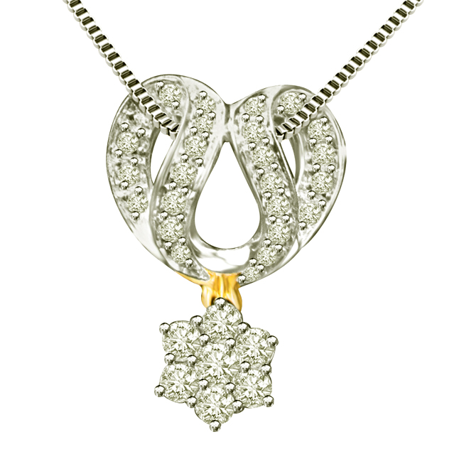 Dazzling Chakra 0.60ct Mangalsutra Design Two Tone Diamond Pendants For Your Wife -Designer Pendants