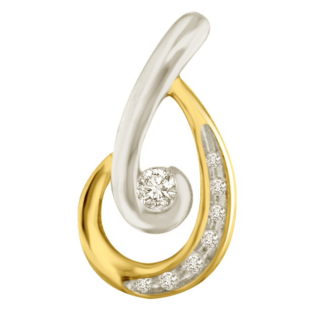 Magic Hopper Two Tone Diamond Small Solitaire Pendants For Your Love -Designer Pendants