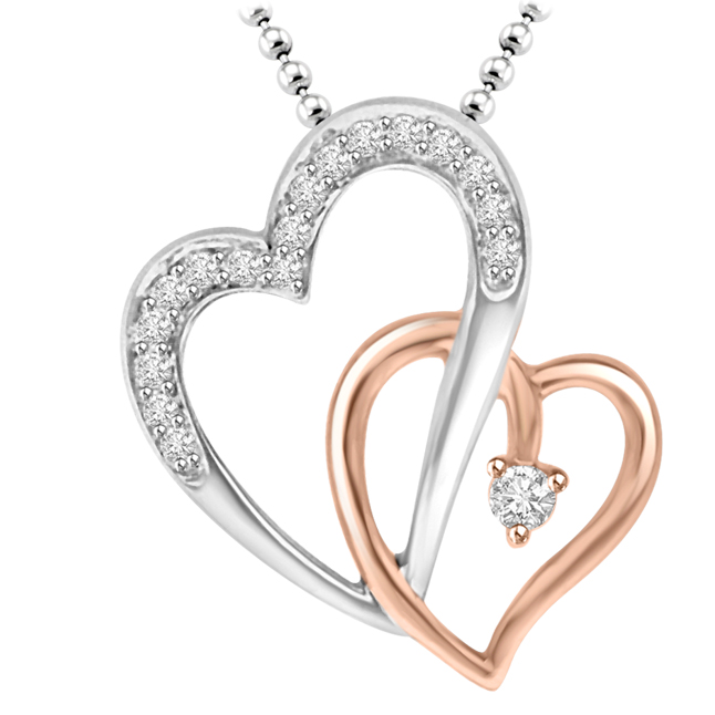 Forever In My Heart Pink & White Gold Diamond Heart Pendants For Your Sweetheart