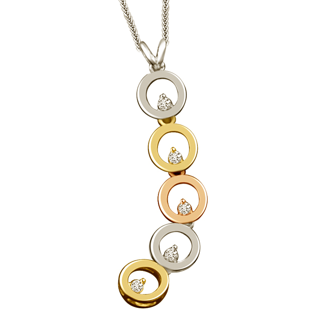 5 Circles Of Life Diamond & Two Tone Gold Pendants -Designer Pendants