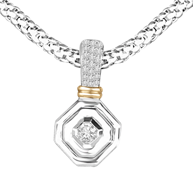 Gracious Curve 0.20ct Two Tone Diamond In Hexagone Gold Pendants For Her -Designer Pendants