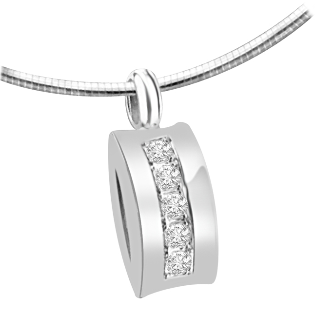 Dazzling Attraction 0.10ct White Gold & 5 Diamonds In Row Pendants For Your Love -Designer Pendants