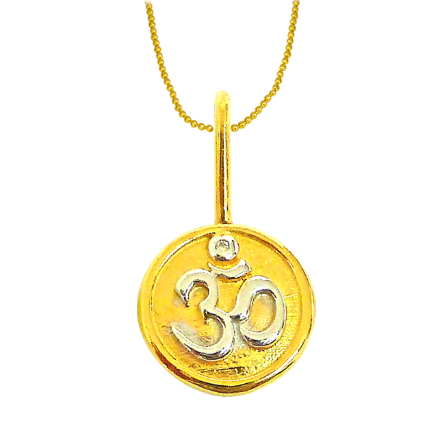 OM -Diamond Gold Pendants with Gold Plated Chain -Religious