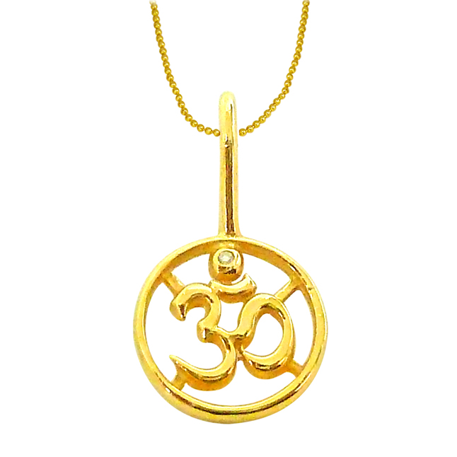 OM -Delicate Diamond Gold Pendants with Gold Plated Chain -Religious