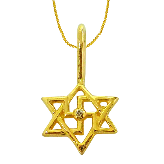 Shatkonam -Swastik -Diamond Gold Pendants with Gold Plated Chain -Religious