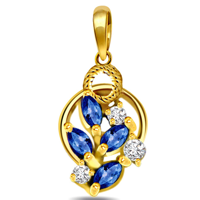 OM -Two Tone Diamond Gold Pendants with Gold Plated Chain -Religious