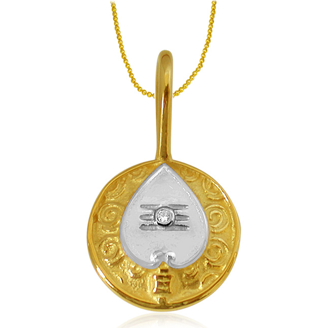 Vel -Diamond Gold Pendants with Gold Plated Chain -Religious