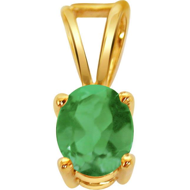 Green Neck 1.00ct Lustrous Oval Green Emerald Pendants (p -170 ACCK -2662 -204 -9) -Emerald Gold Pendants