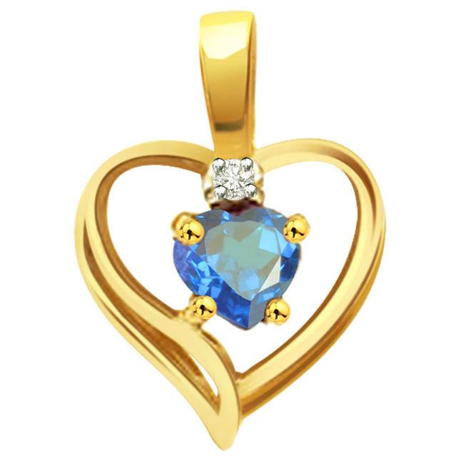 Aqua Marine Heart Real Diamond Pendants