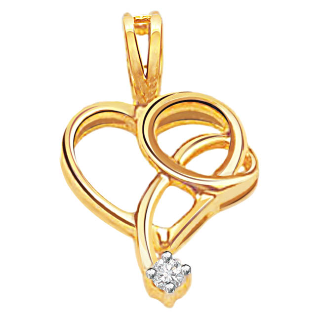 Two in One Hearts -two in one diamond Pendants| Surat Diamond Jewelry