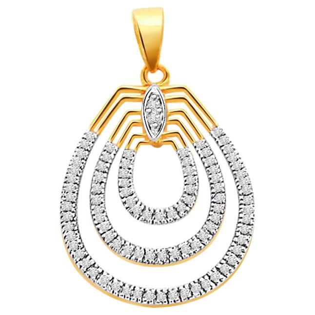 Twisty Curv 1.28 ct Two tone Diamond Pendants P234