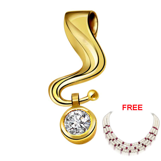 Dazzling Swing Pure Classic Diamond Pendants + FREE Pearl & Ruby Necklace -Special Deals