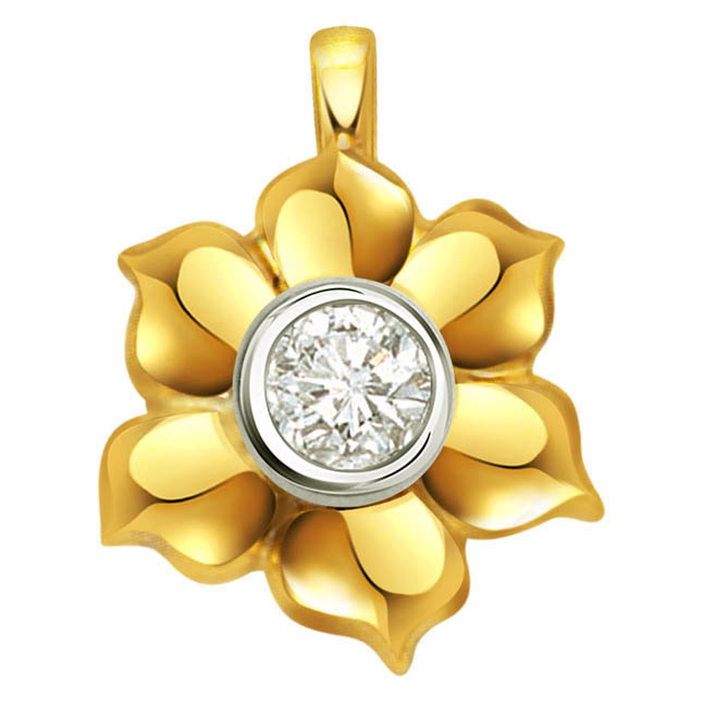 A Demure & Delicate Diamond Pendants In a Flower Shape