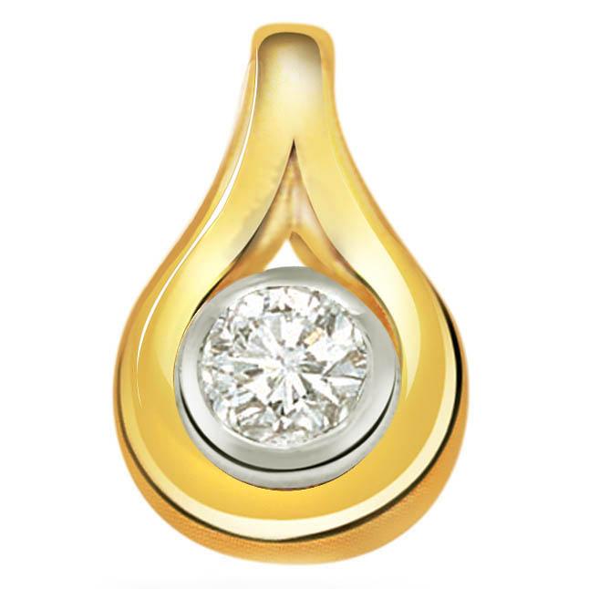 Sleek Curves Diamond & 9kt Gold Pendants -P258 -Solitaire