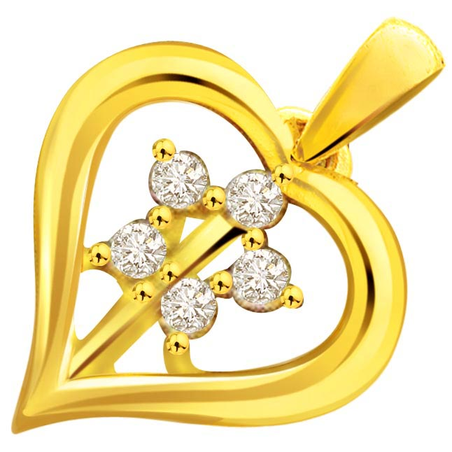 Heartistic Romance Flower Shape Diamond In Heart Pendants