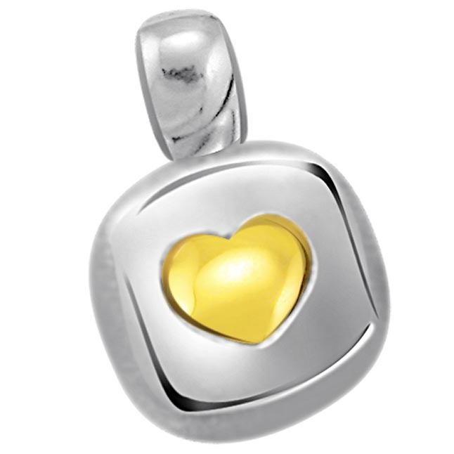 Love on Square Heart Shape Gold Pendants