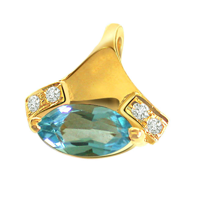 Real Love Diamond & Blue Topaz Pendants -Dia+Gemstone