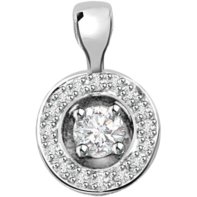 Silver Chakra 0.41 ct Diamond White Gold Pendants