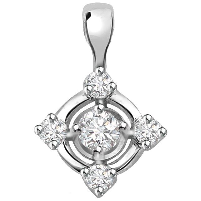 Queen's Pride 0.15 ct Diamond White Gold Pendants