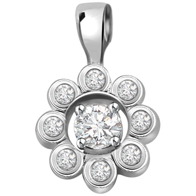 White Flower with Diamond Petals 0.23 ct Diamond White Gold Pendants