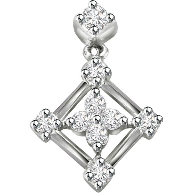 Impassioned Flower 0.27 ct Diamond White Gold Pendants