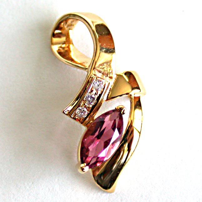 Rosy Love Diamond Pendants in 18kt Gold -Dia+Gemstone