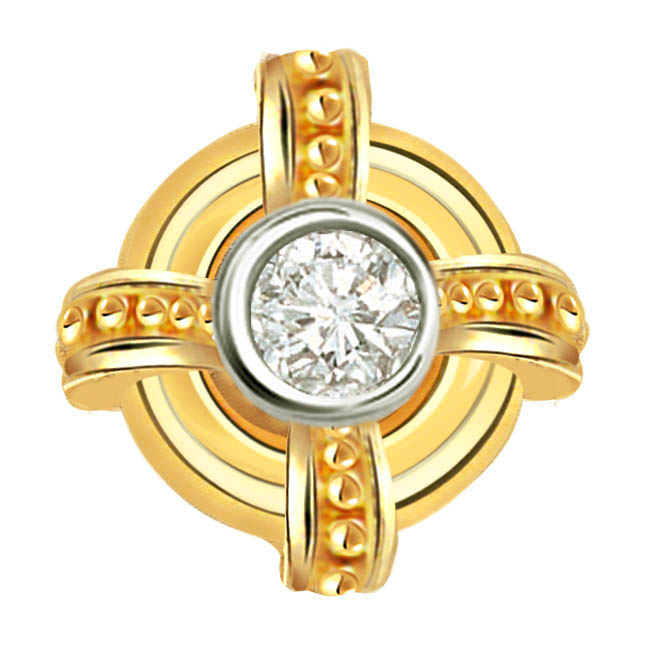 Golden Wheel Brilliant Diamond Solitaire Pendants P343 -Solitaire