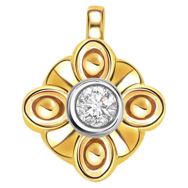 Sparkling Golden Touch 0.10ct Solitaire Pendants P351 -Solitaire