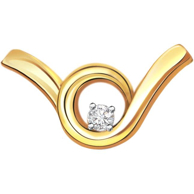 Dazzling Twist Diamond Solitaire Pendants P362 -Solitaire