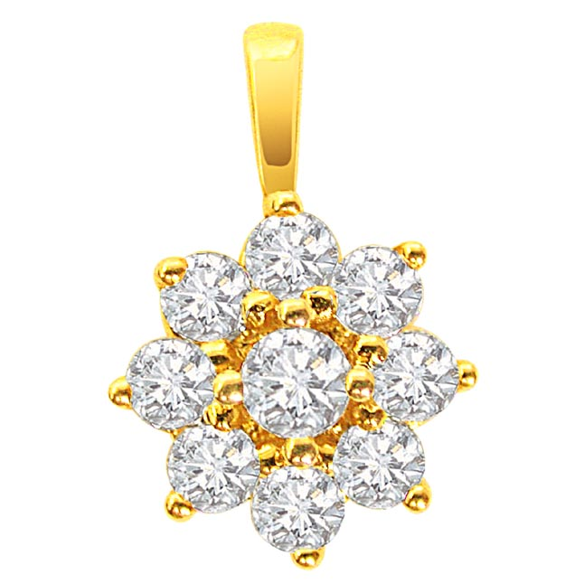 Diamond Only to you -Flower Shape Pendants