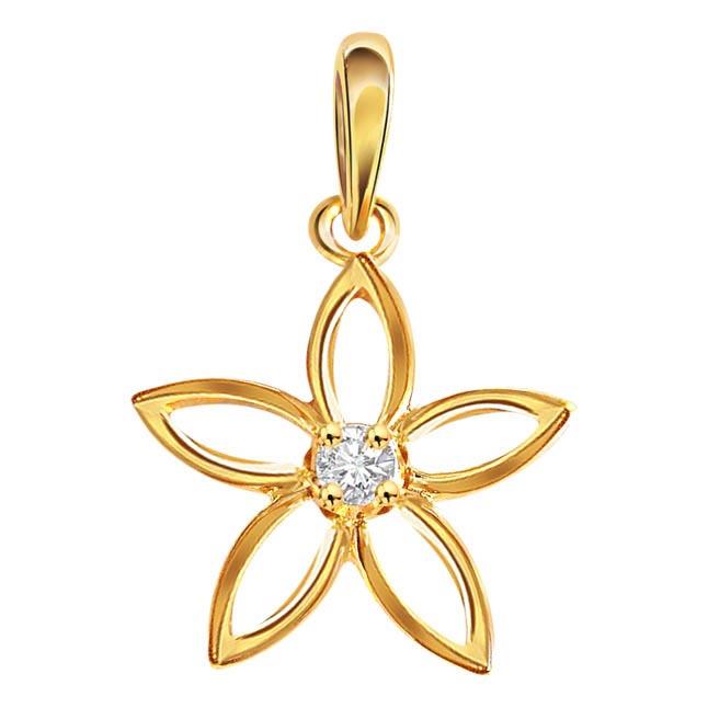 Flower Affair 0.05 ct Diamond Pendants P385 -Flower Shape Pendants