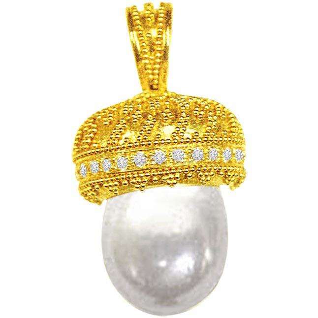 0.25ct Diamond & Pearl Pendants -Designer Pendants