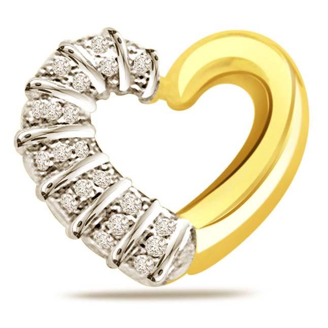 Secrets of Heart 0.25ct Diamond Two -Tone Pendants