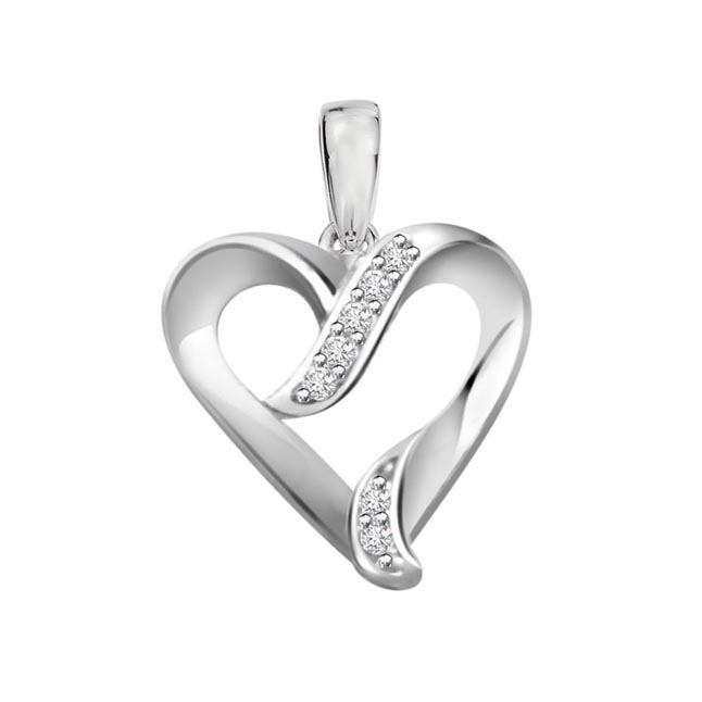 Heartbeat 0.07ct Diamond White Gold Pendants