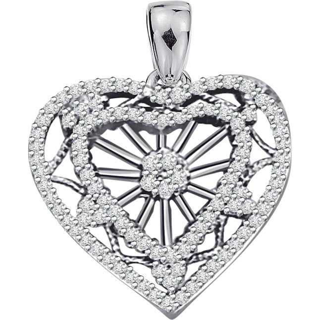 A Queen's Heart 1.00ct Diamond White Gold Heart Pendants